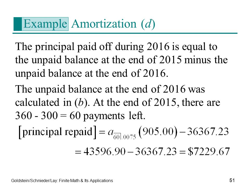 Example Amortization (d)