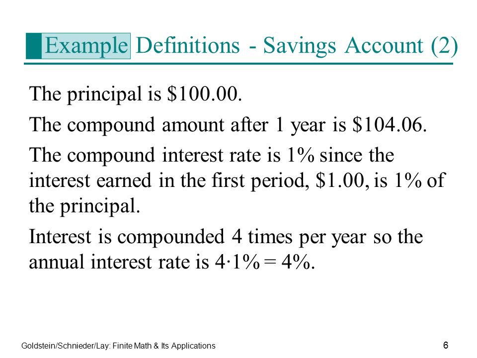 Example Definitions - Savings Account (2)
