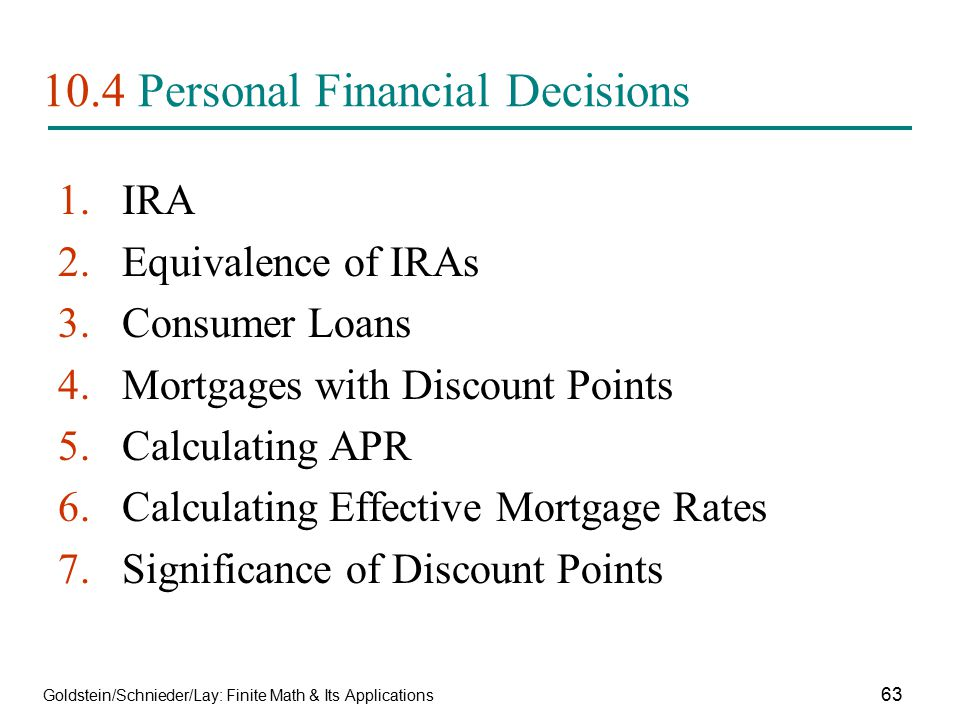 10.4 Personal Financial Decisions