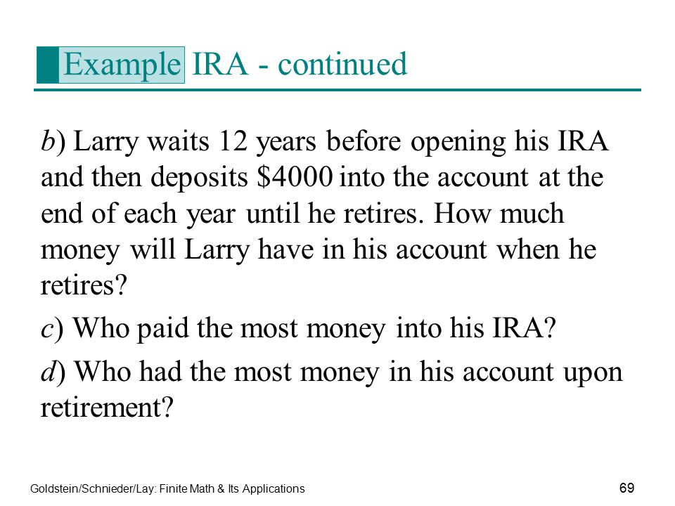 Example IRA - continued