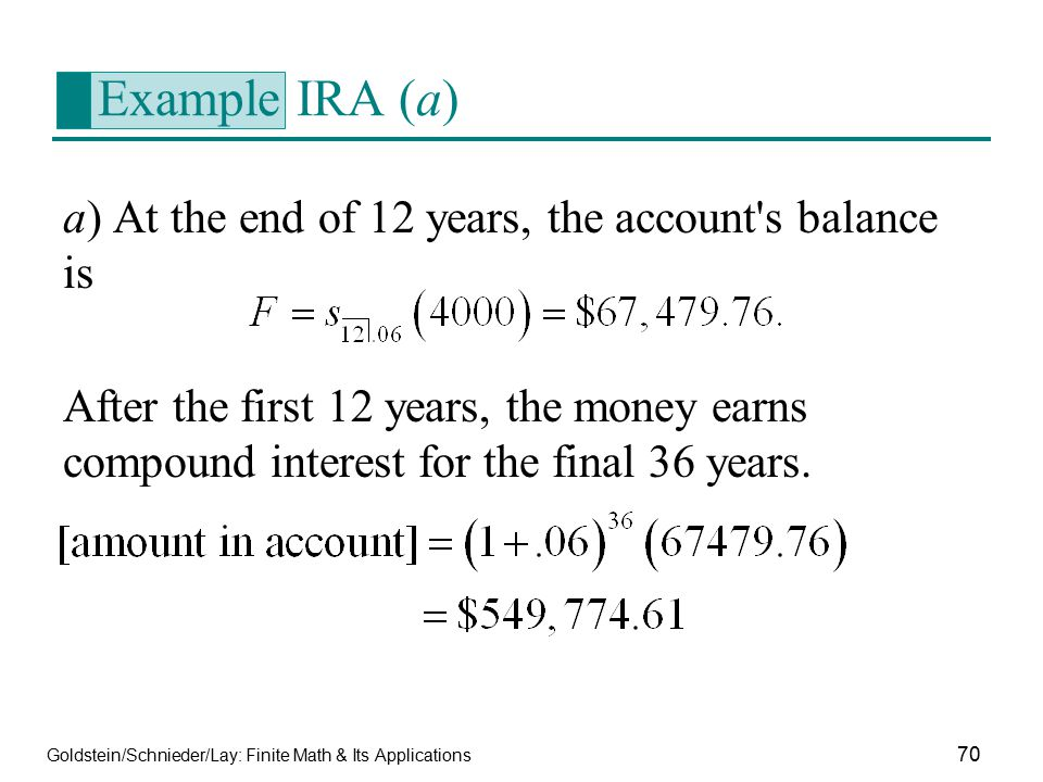 Example IRA (a) a) At the end of 12 years, the account s balance is