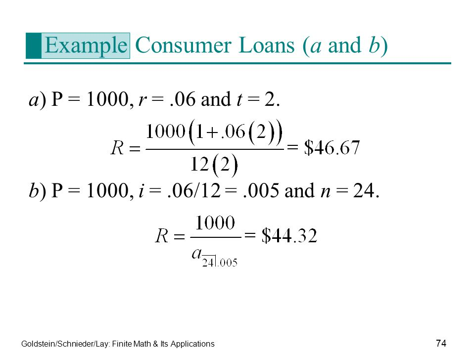 Example Consumer Loans (a and b)