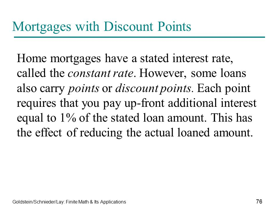 Mortgages with Discount Points