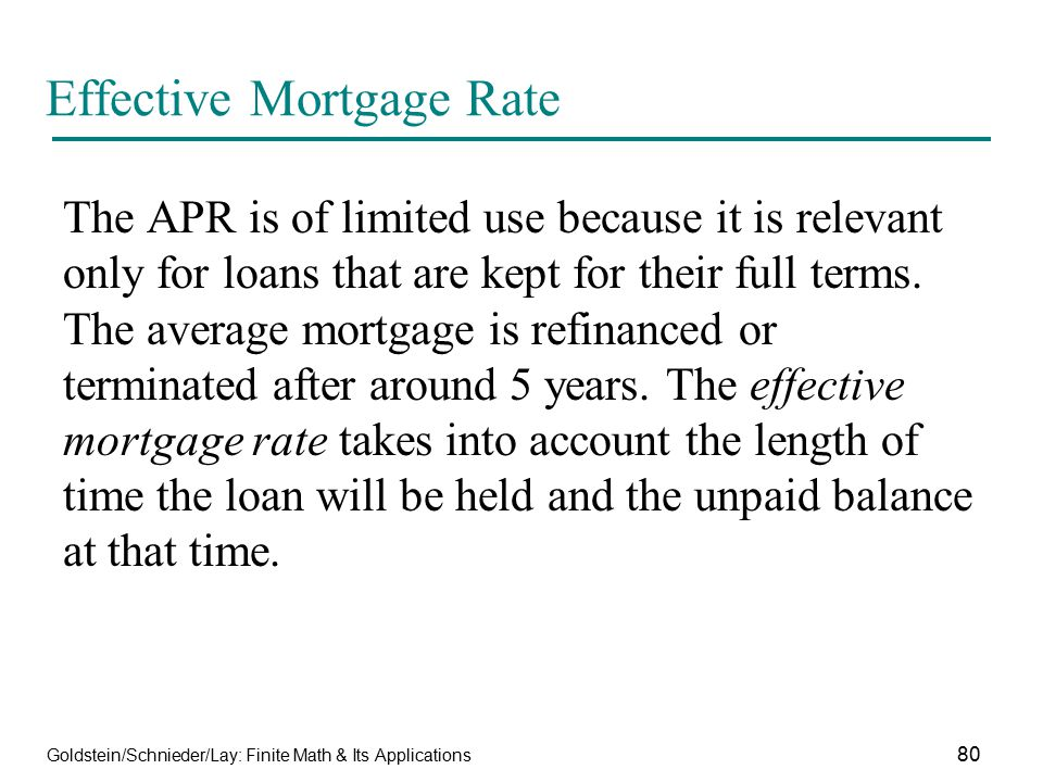 Effective Mortgage Rate