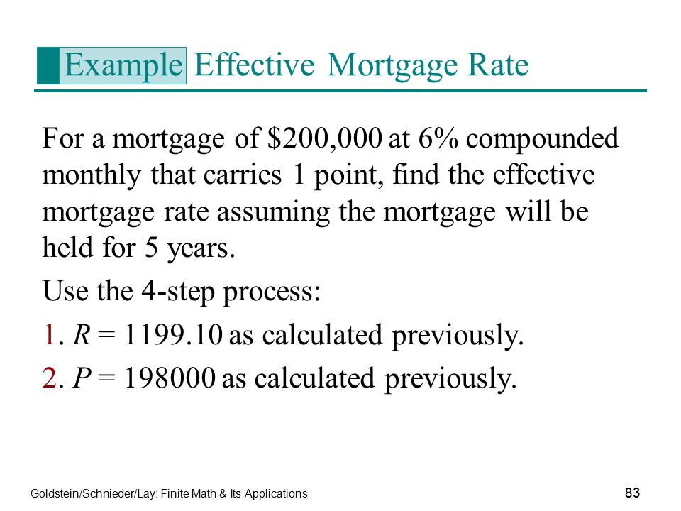 Example Effective Mortgage Rate