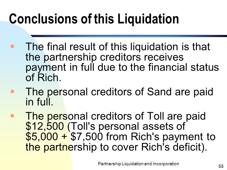 Conclusions of this Liquidation