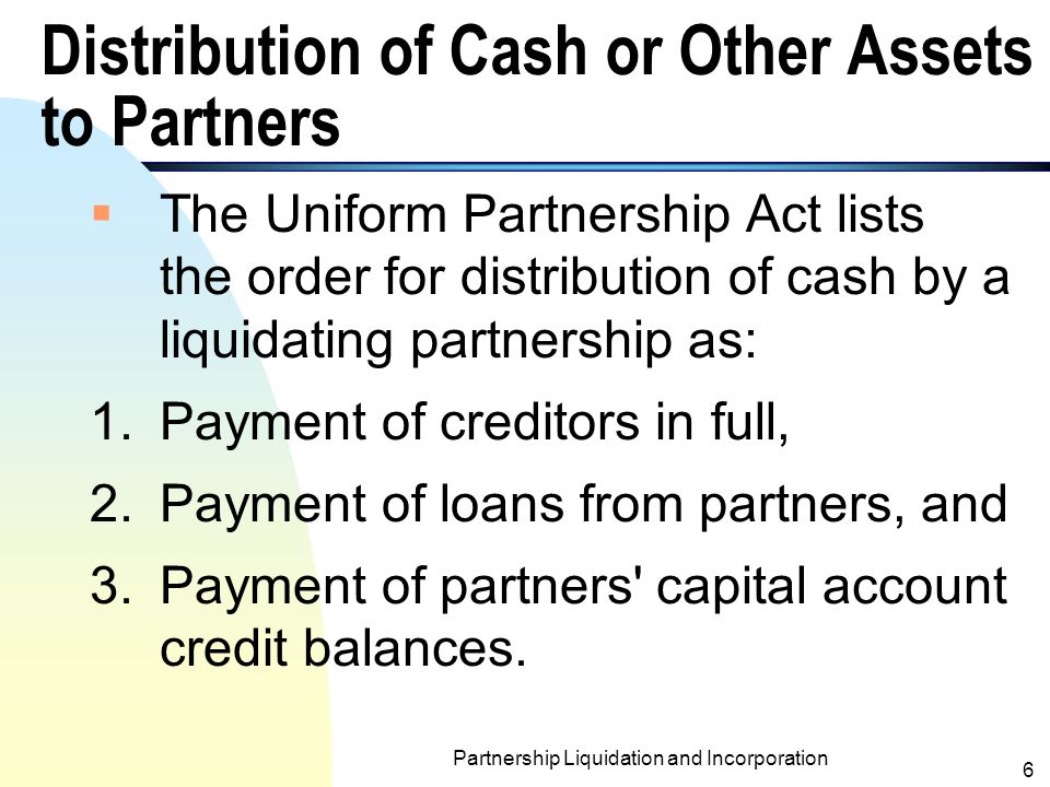 Distribution of Cash or Other Assets to Partners