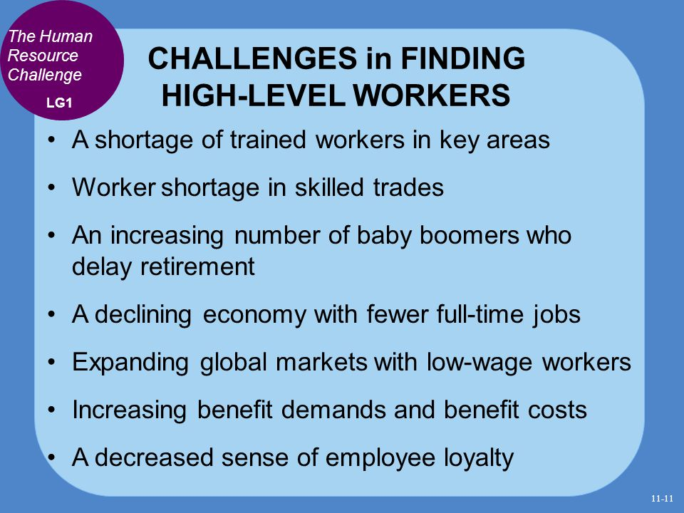 CHALLENGES in FINDING HIGH-LEVEL WORKERS