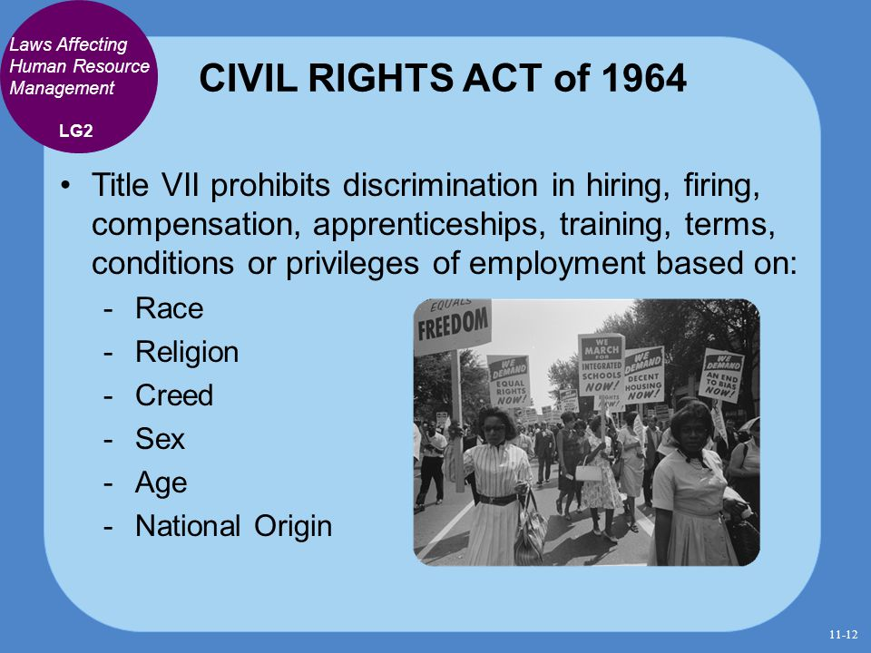CIVIL RIGHTS ACT of 1964 Laws Affecting Human Resource Management. LG2.