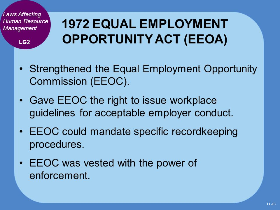 1972 EQUAL EMPLOYMENT OPPORTUNITY ACT (EEOA)