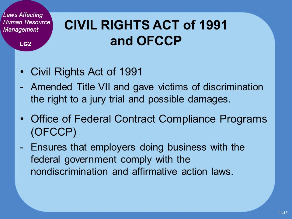 CIVIL RIGHTS ACT of 1991 and OFCCP