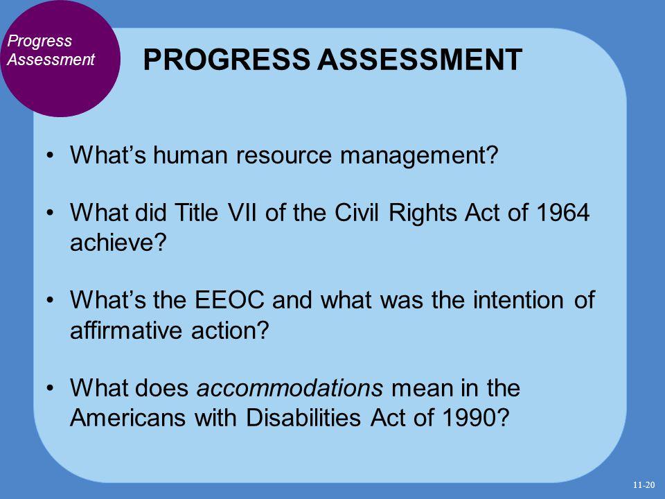 PROGRESS ASSESSMENT What's human resource management