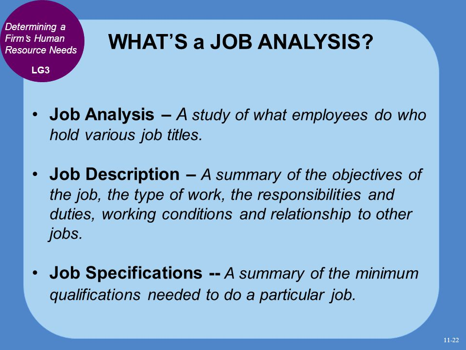 WHAT'S a JOB ANALYSIS Determining a Firm's Human Resource Needs. LG3. Job Analysis – A study of what employees do who hold various job titles.