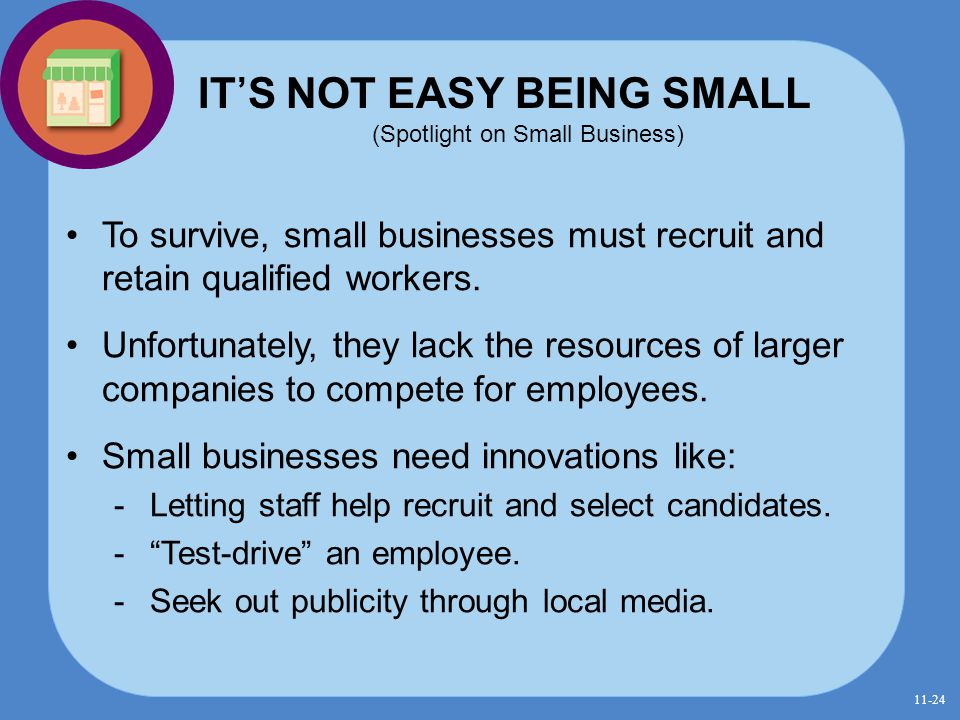 IT'S NOT EASY BEING SMALL (Spotlight on Small Business)