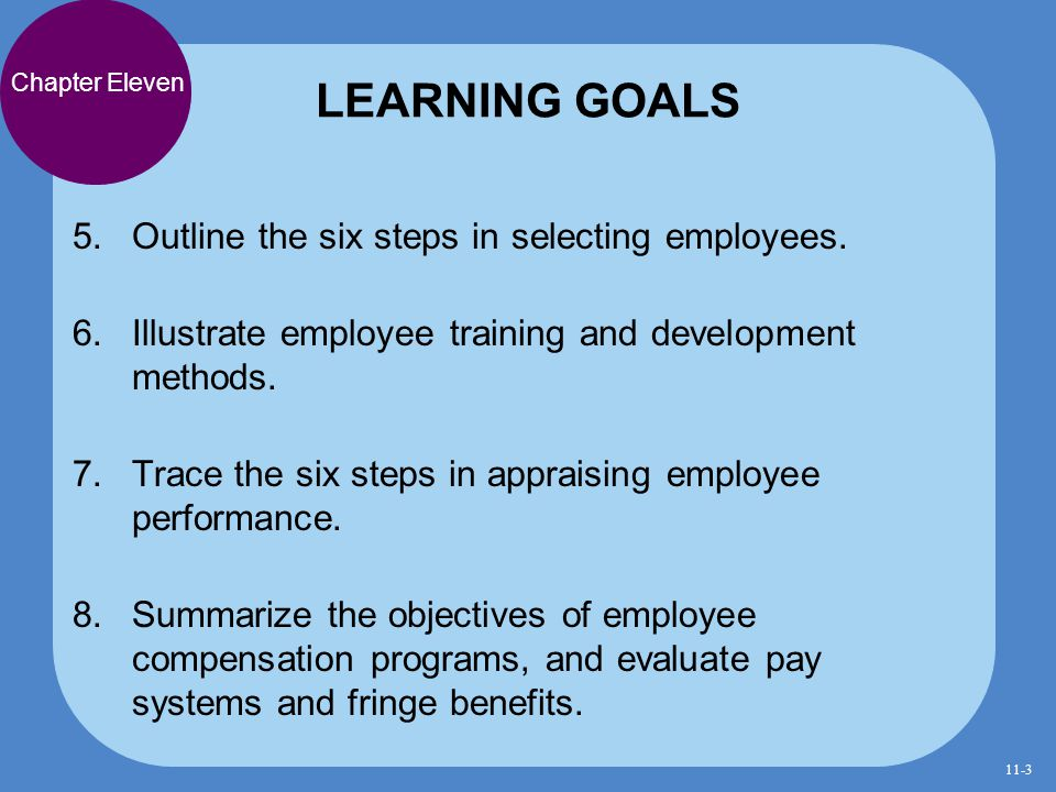 LEARNING GOALS Outline the six steps in selecting employees.