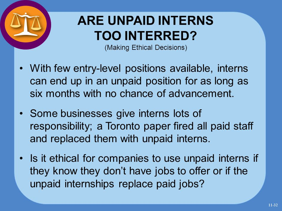 ARE UNPAID INTERNS TOO INTERRED (Making Ethical Decisions)