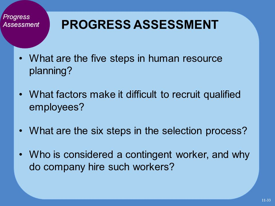 PROGRESS ASSESSMENT Progress Assessment. What are the five steps in human resource planning