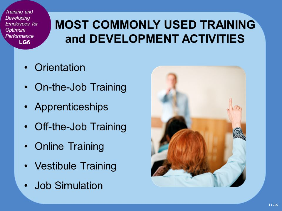 MOST COMMONLY USED TRAINING and DEVELOPMENT ACTIVITIES