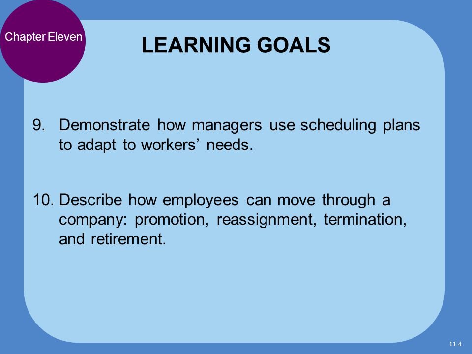 LEARNING GOALS Chapter Eleven. Demonstrate how managers use scheduling plans to adapt to workers' needs.