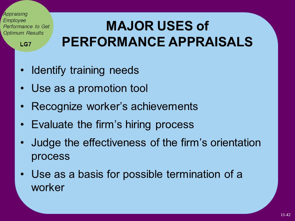 MAJOR USES of PERFORMANCE APPRAISALS