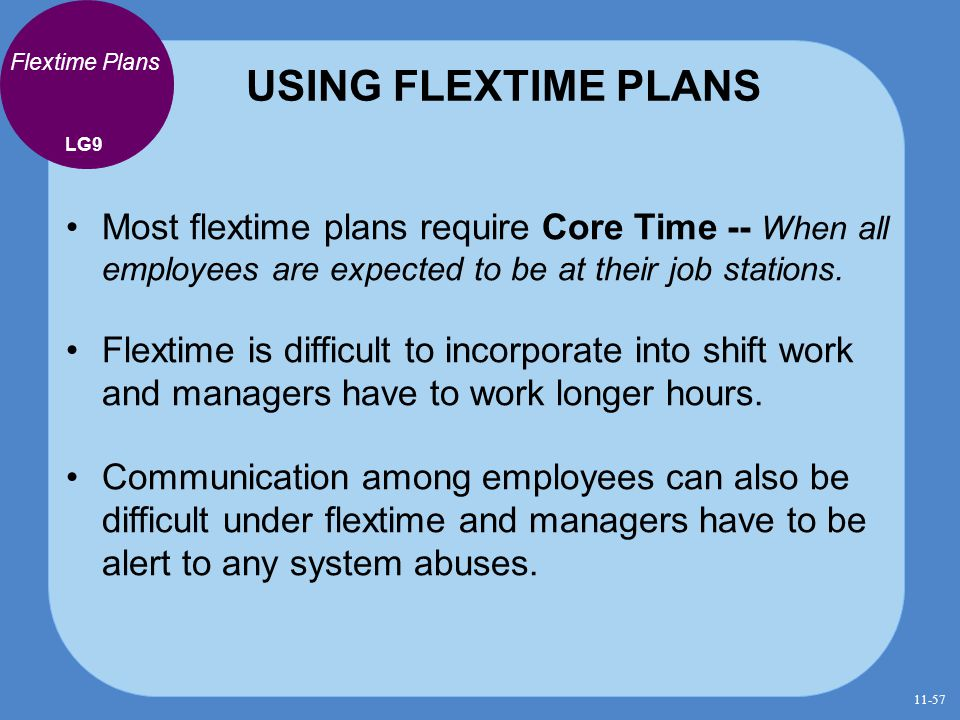 USING FLEXTIME PLANS Flextime Plans. LG9. Most flextime plans require Core Time -- When all employees are expected to be at their job stations.