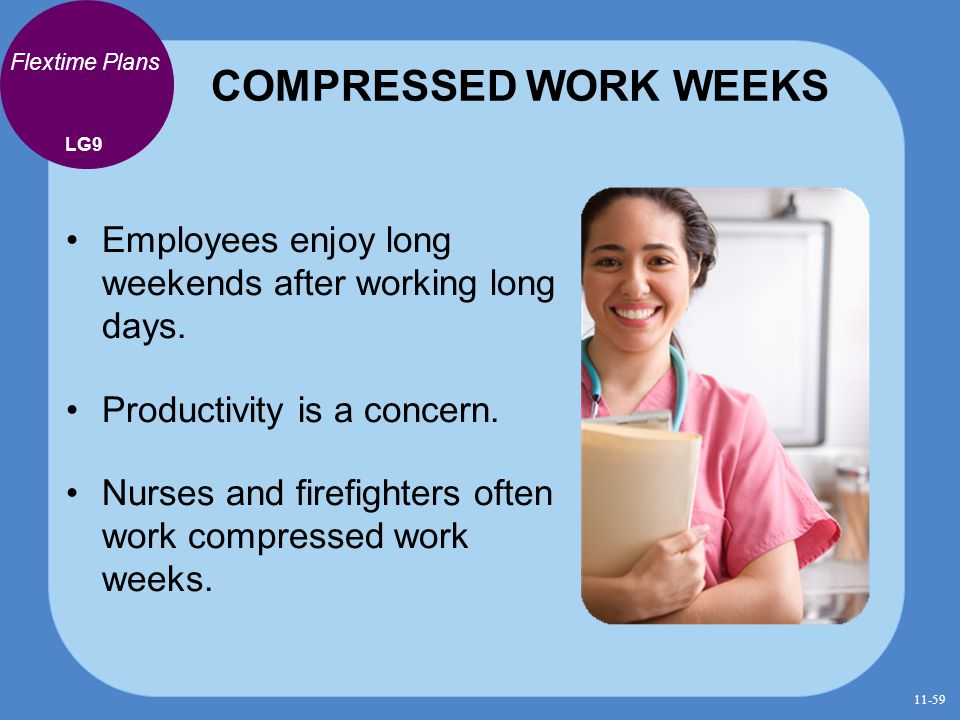 COMPRESSED WORK WEEKS Flextime Plans. LG9. Employees enjoy long weekends after working long days.