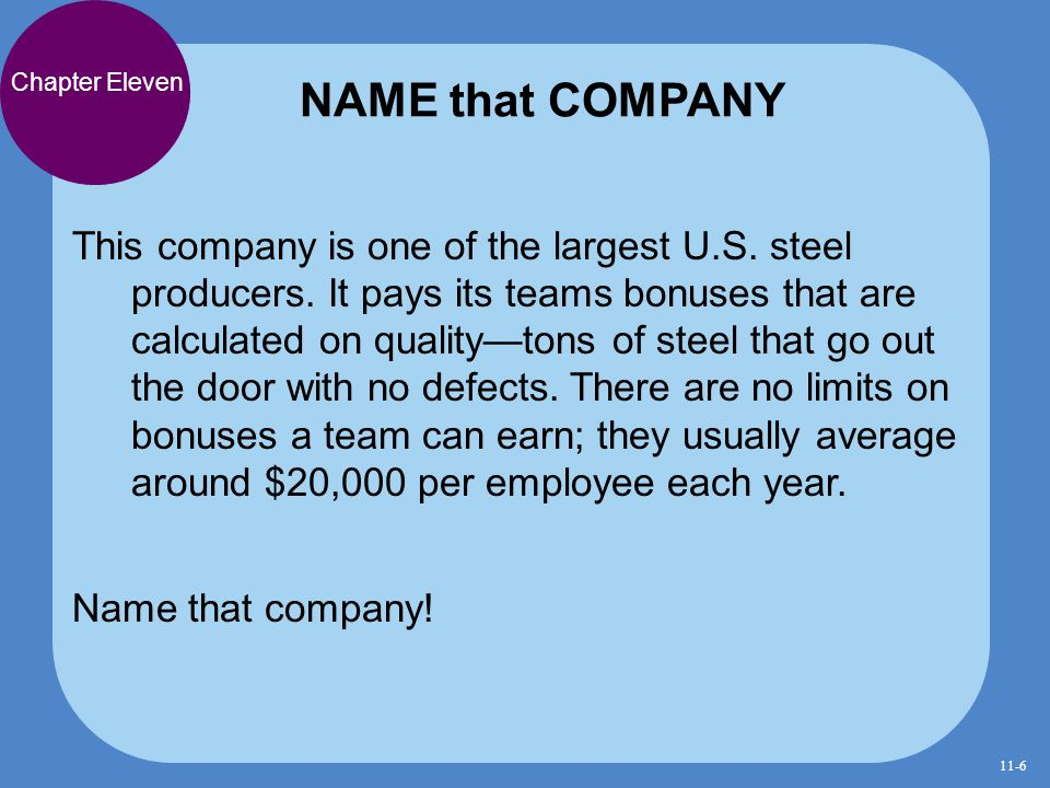 NAME that COMPANY Chapter Eleven.