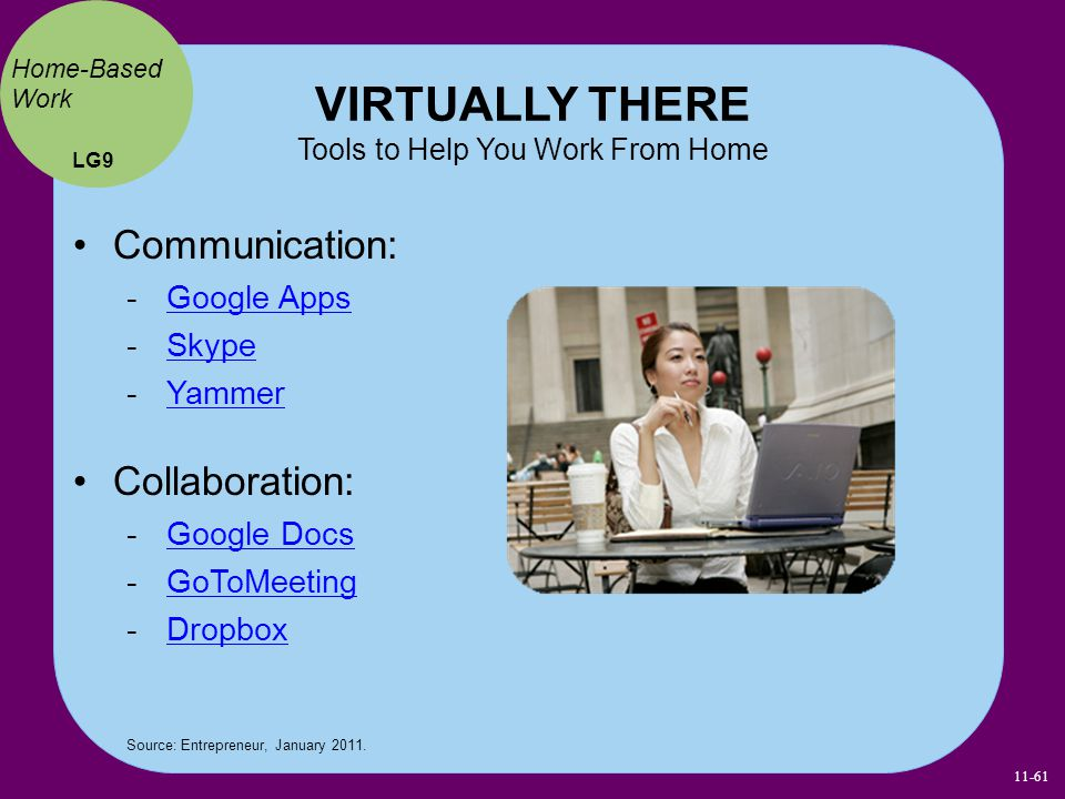 VIRTUALLY THERE Tools to Help You Work From Home