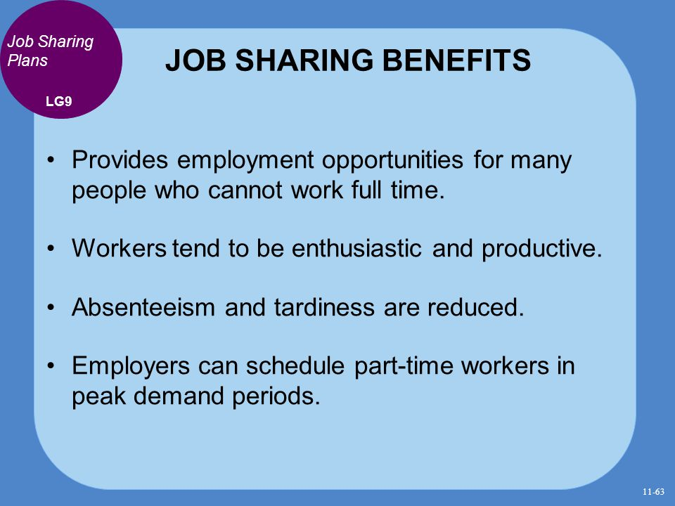 JOB SHARING BENEFITS Job Sharing Plans. LG9. Provides employment opportunities for many people who cannot work full time.