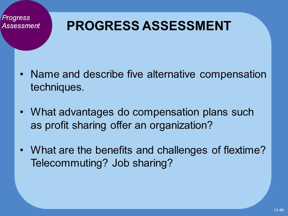 PROGRESS ASSESSMENT Progress Assessment. Name and describe five alternative compensation techniques.