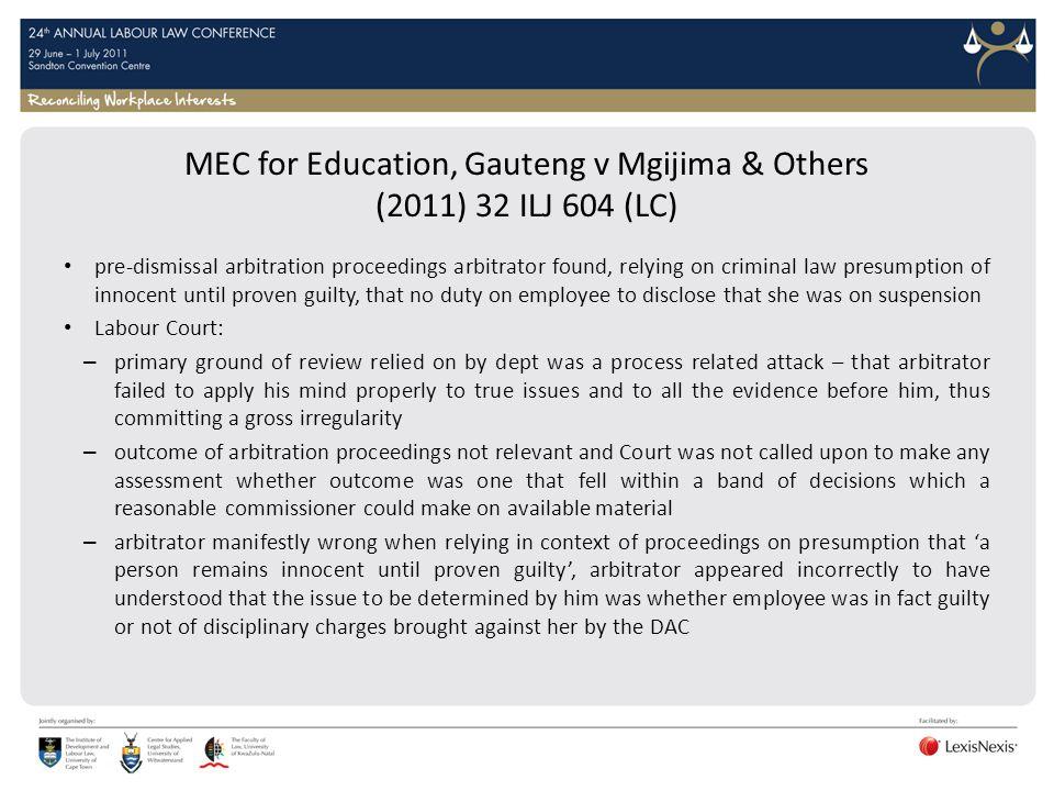 MEC for Education, Gauteng v Mgijima & Others (2011) 32 ILJ 604 (LC)