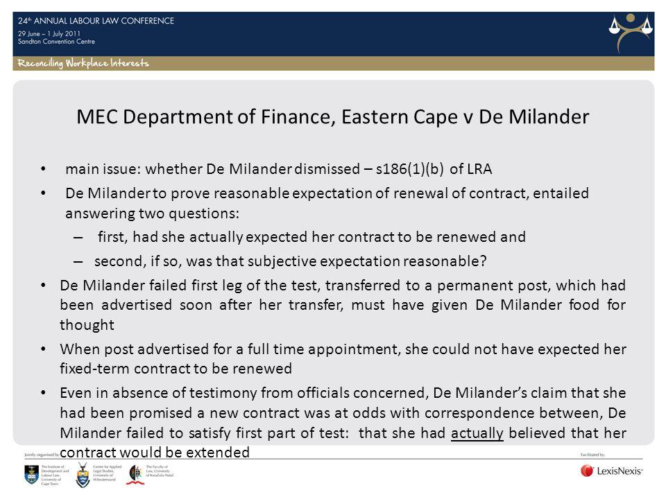 MEC Department of Finance, Eastern Cape v De Milander