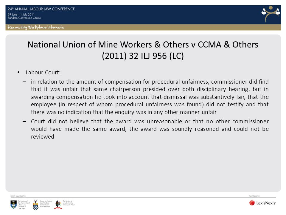 National Union of Mine Workers & Others v CCMA & Others (2011) 32 ILJ 956 (LC)