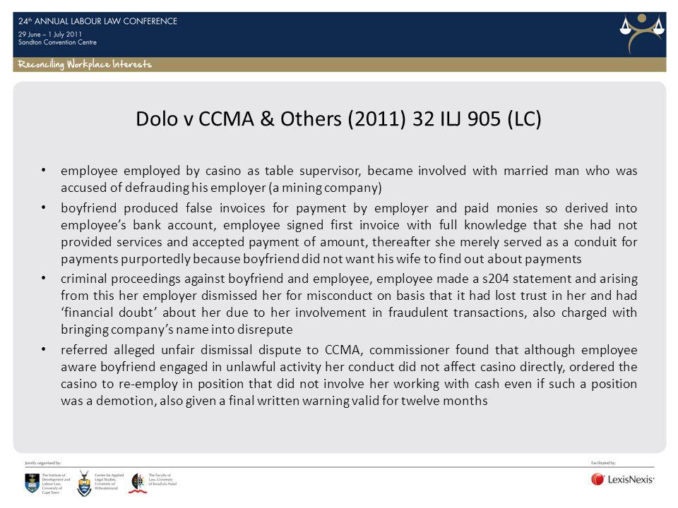Dolo v CCMA & Others (2011) 32 ILJ 905 (LC)