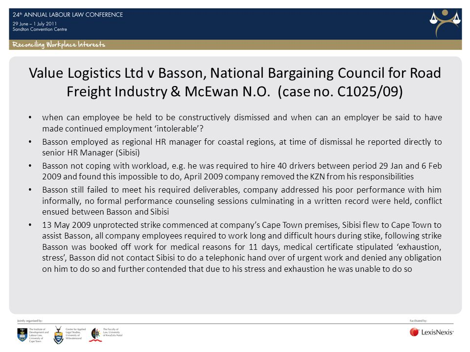 Value Logistics Ltd v Basson, National Bargaining Council for Road Freight Industry & McEwan N.O. (case no. C1025/09)