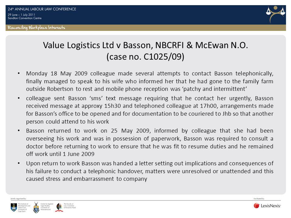 Value Logistics Ltd v Basson, NBCRFI & McEwan N.O. (case no. C1025/09)