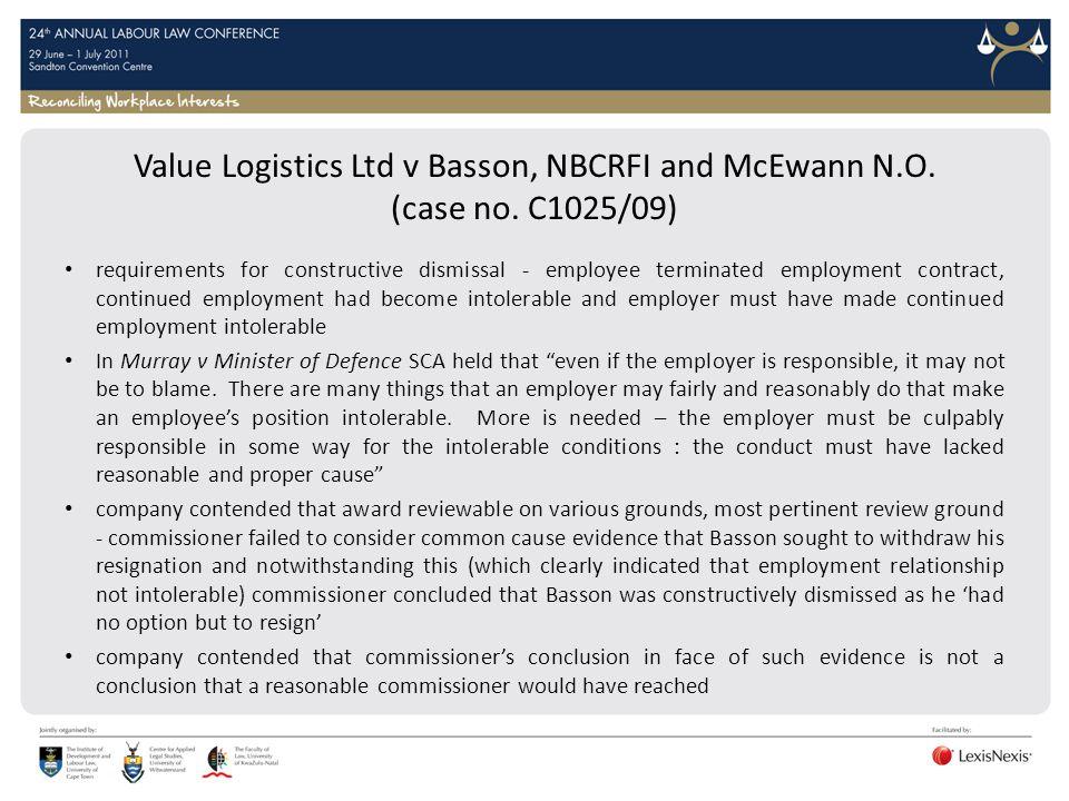 Value Logistics Ltd v Basson, NBCRFI and McEwann N. O. (case no