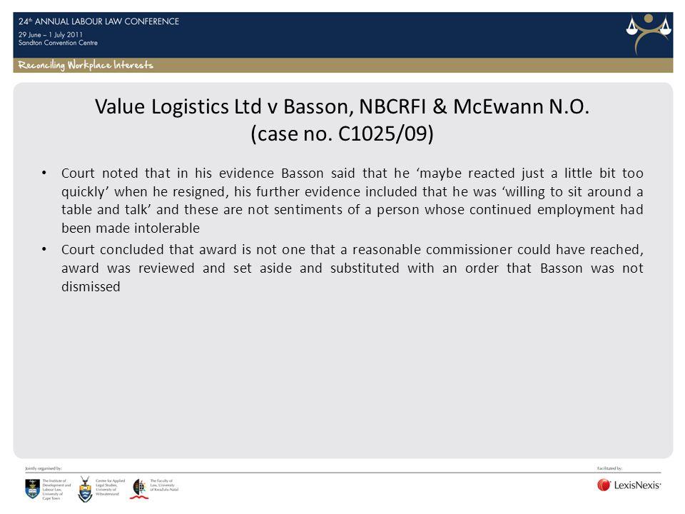 Value Logistics Ltd v Basson, NBCRFI & McEwann N. O. (case no