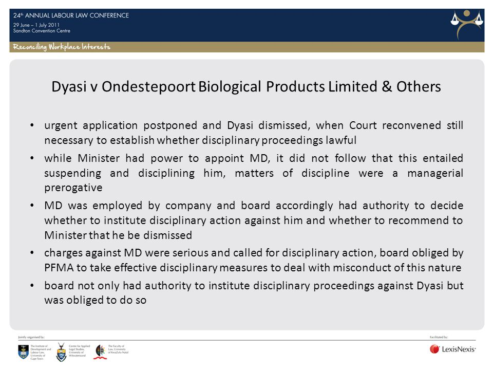 Dyasi v Ondestepoort Biological Products Limited & Others