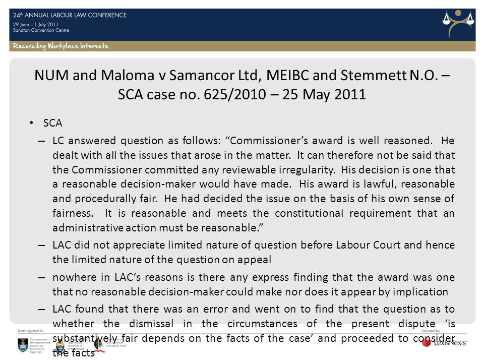 NUM and Maloma v Samancor Ltd, MEIBC and Stemmett N. O. – SCA case no