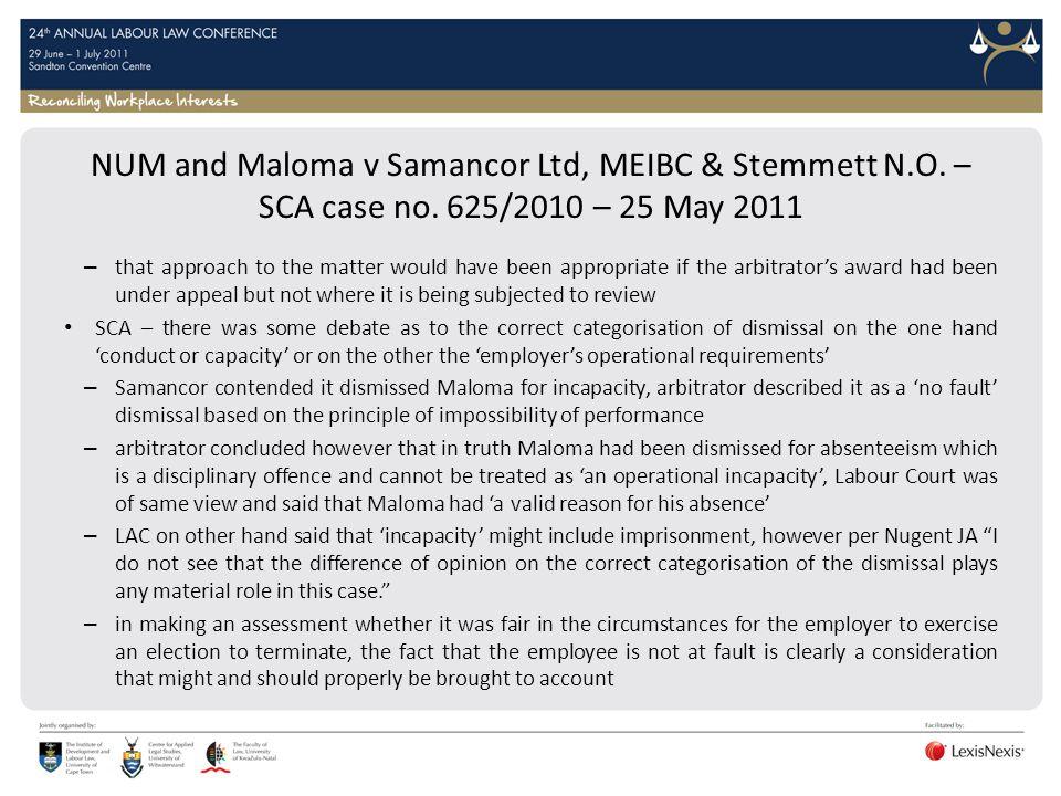 NUM and Maloma v Samancor Ltd, MEIBC & Stemmett N. O. – SCA case no