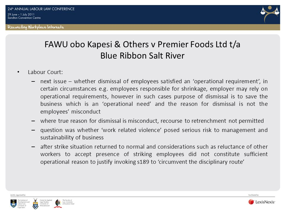 FAWU obo Kapesi & Others v Premier Foods Ltd t/a Blue Ribbon Salt River