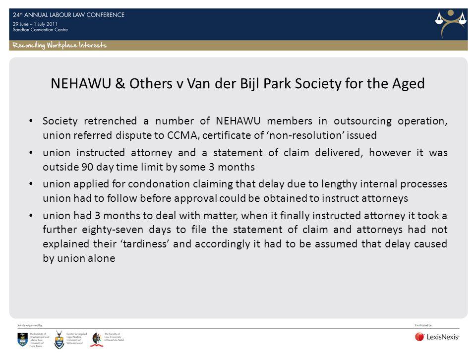 NEHAWU & Others v Van der Bijl Park Society for the Aged