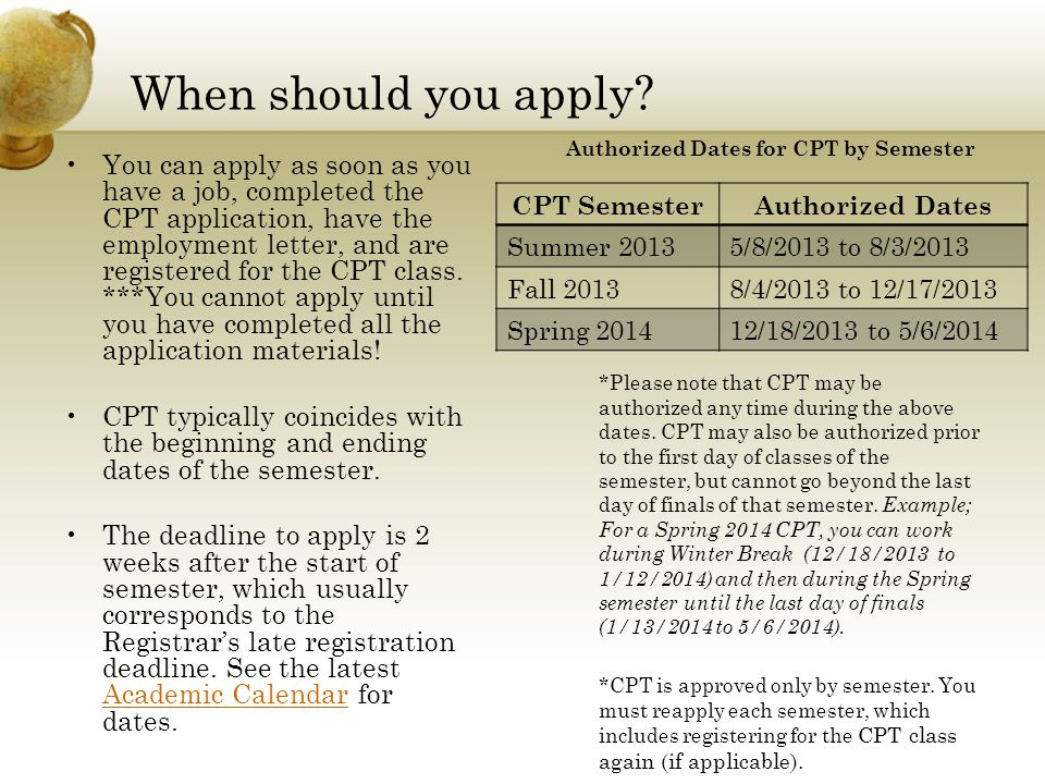 Authorized Dates for CPT by Semester