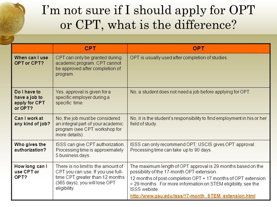 I'm not sure if I should apply for OPT or CPT, what is the difference