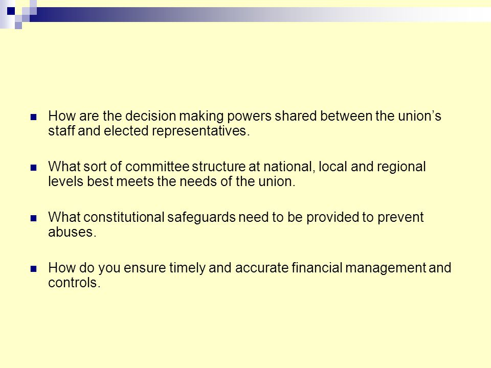 How are the decision making powers shared between the union's staff and elected representatives.