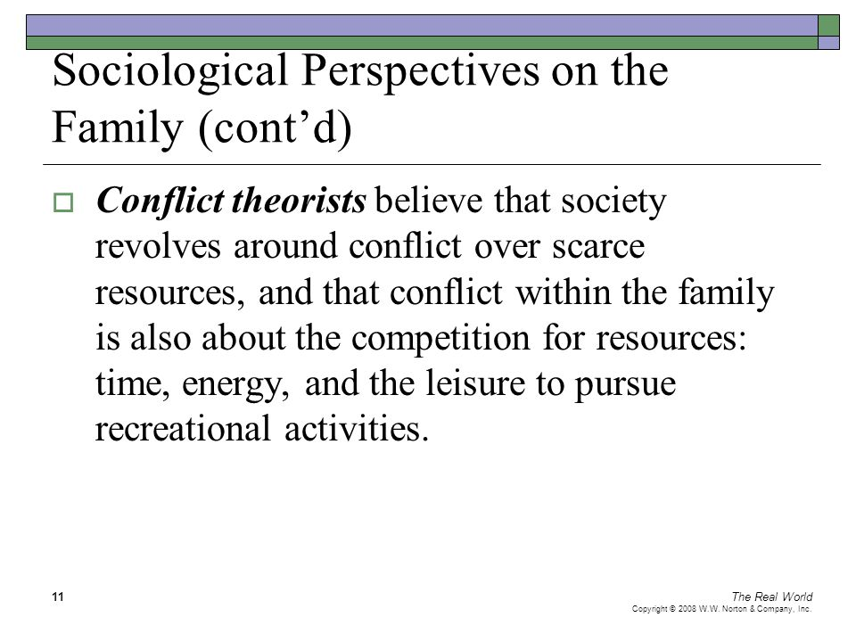 Sociological Perspectives on the Family (cont'd)