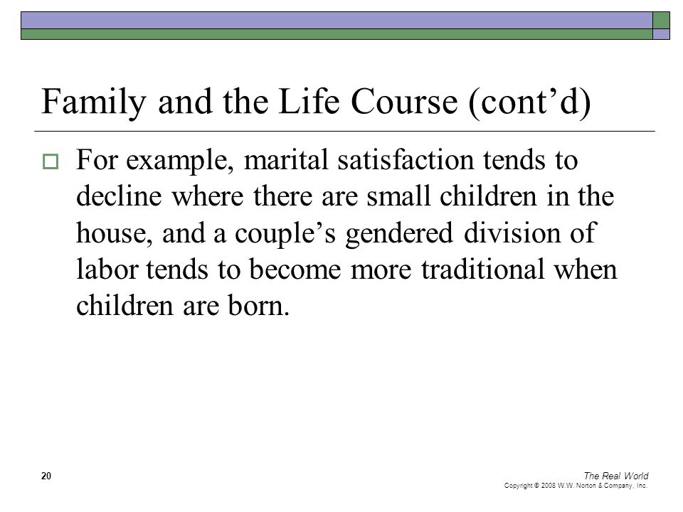 Family and the Life Course (cont'd)