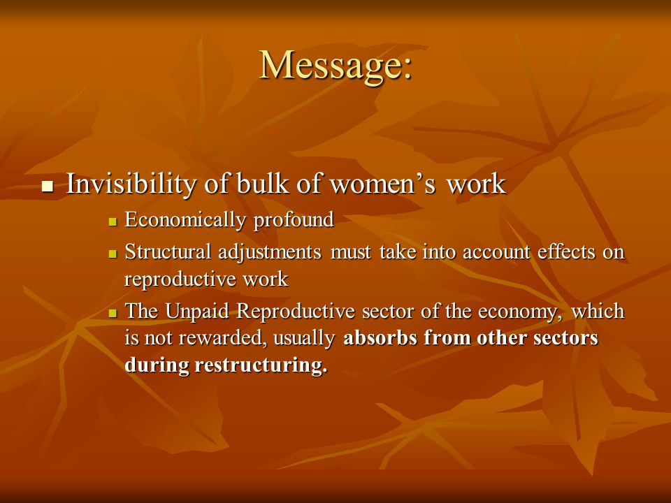 Message: Invisibility of bulk of women's work Economically profound