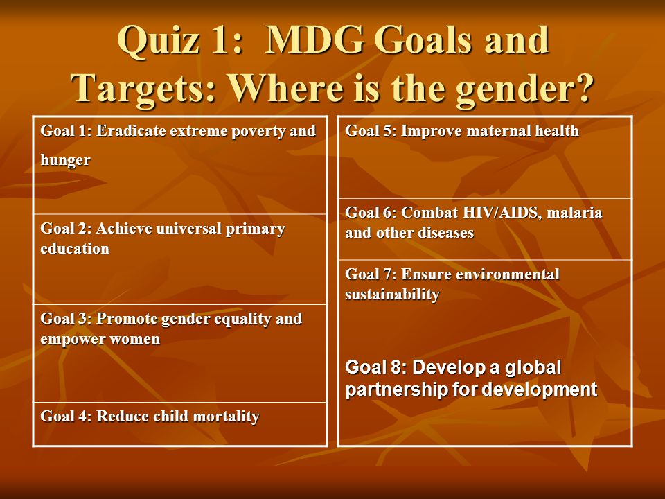 Quiz 1: MDG Goals and Targets: Where is the gender